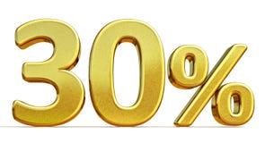 3d ouro 30 sinal de um disconto de trinta por cento Imagens de Stock