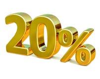 3d ouro 20 sinal de um disconto de vinte por cento Imagem de Stock