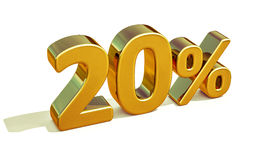 3d ouro 20 sinal de um disconto de vinte por cento Imagens de Stock Royalty Free