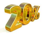 3d ouro 20 sinal de um disconto de vinte por cento Fotos de Stock