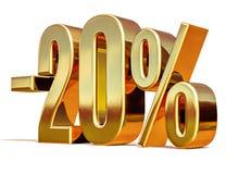 3d ouro 20 sinal de um disconto de vinte por cento Fotografia de Stock Royalty Free