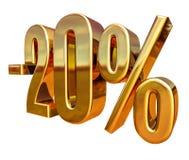 3d ouro 20 sinal de um disconto de vinte por cento Imagem de Stock Royalty Free