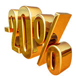 3d ouro 20 sinal de um disconto de vinte por cento Foto de Stock Royalty Free