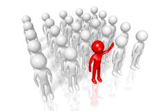 3D out of the crowd concept. Cartoon characters, white background - great for topics like employment, job etc Stock Photo