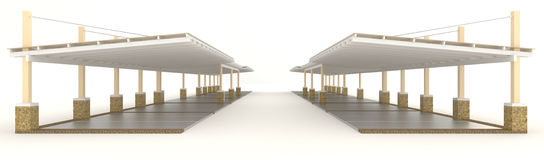 3D outdoor carpark roofing in side view Royalty Free Stock Photos