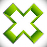 3d outline cross icon – Contour of X shape, X letter with colo Stock Image