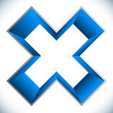 3d outline cross icon – Contour of X shape, X letter with colo Stock Photo