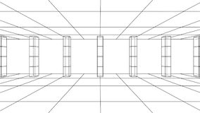 3D outline interior. Vector. Rendering of 3d. Wire-frame style. The layers of visible and invisible lines are separated Stock Images