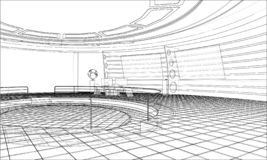 3D outline interior. Vector rendering of 3d vector illustration