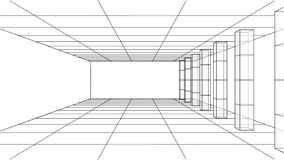 3D outline interior. Vector. Rendering of 3d. Wire-frame style. The layers of visible and invisible lines are separated Royalty Free Stock Photo
