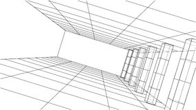 3D outline interior. Vector. Rendering of 3d. Wire-frame style. The layers of visible and invisible lines are separated Stock Photos