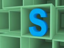 3d ouvrent des boîtes avec la lettre S Photos libres de droits