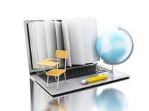 3d ouvrent des tours de livre dans un ordinateur portable ouvert avec le globe, le stylo et l'école Images stock