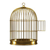 3d ouvrent la cage à oiseaux d'or Photo stock