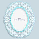3D oval frame for a photo or picture, vignette with ornaments, lace border,  bas-relief ornament,  openwork  pattern, template. Greetings, vector Stock Photo
