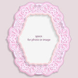 3D oval frame for a photo or picture, vignette with ornaments, lace border,  bas-relief ornament,  openwork  pattern, template. Greetings, vector Stock Images