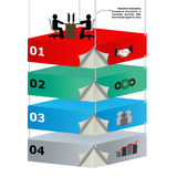 3d overhead platforms with workers for business id. Eas. Presentations, brochure Stock Images