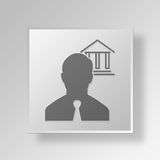 3D Overheid Job Button Icon Concept Royalty-vrije Stock Afbeelding