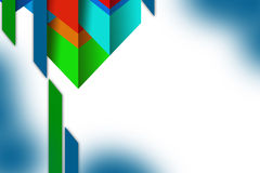 3d overlaping multicolored shapes left  top side, abstrack background Stock Photos