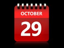3d 29 Październik kalendarz Zdjęcia Stock
