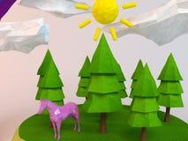 3d paard binnen een laag-poly groene scène Stock Fotografie