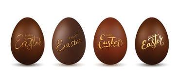 3d paasei Chocoladebruine geplaatste eieren, geïsoleerde witte achtergrond Traditioneel suikergoeddessert, decoratie van letters  vector illustratie