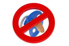 3D pacifier in prohibition sign Stock Photography