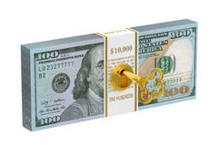 3D Pack of dollars with key. Pack of dollars with key 3D on white background Royalty Free Stock Photo