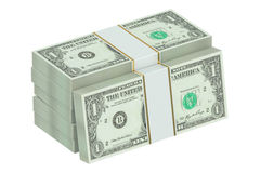 3D packs of dollars. On white background Royalty Free Stock Image