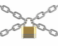 3D padlock with chain  over white Royalty Free Stock Photos