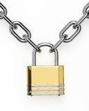 3D padlock with chain  over white Royalty Free Stock Photo