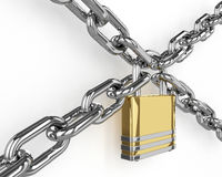 3D padlock with chain  over white Stock Photos