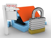 3d padlock. 3d illustration of block house over white background with padlock and sale sign Stock Images