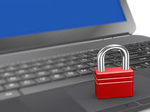 3d padlock on laptop keyboard Royalty Free Stock Photos