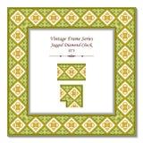 3D pagina d'annata 073 Diamond Check dentellato Fotografia Stock