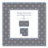 3D pagina d'annata 062 Grey Polygon Cross Star illustrazione di stock