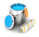 3d paint can and a roller brush. White background, 3d image Stock Image