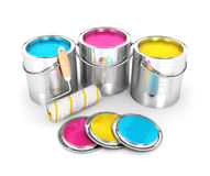 3d paint cans and roller brush. Isolated white background, 3d image Stock Image