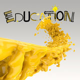 3D paint color splash with design word EDUCATION. As concept Royalty Free Stock Image