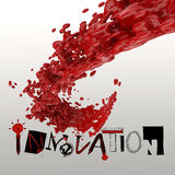 3D paint color splash with design word INNOVATION Stock Photos