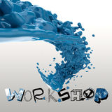 3D paint color splash with design word WORKSHOP Royalty Free Stock Image