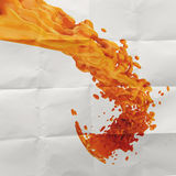 3D paint orange color splash. On crumpled paper background royalty free illustration