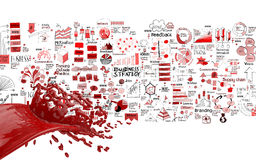 3D paint red color splash and hand drawn business strategy. Background as concept Stock Photos