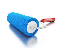 3d Paint roller with colour blue. 3d renderer image. Paint roller with colour blue.  white background Royalty Free Stock Image