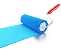 3d Paint roller with colour blue. 3d renderer image. Paint roller with colour blue.  white background Stock Photos