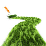 3d Paint roller creates grass Royalty Free Stock Photos