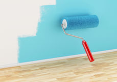 3d Paint roller painting wall with colour blue. Stock Images