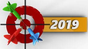 3d painted target with 2019 year sign Stock Image