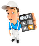 3d painter holding calculator. Illustration with isolated white background Royalty Free Stock Photography