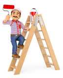 3D Painter working up a ladder with a roller brush Stock Photo